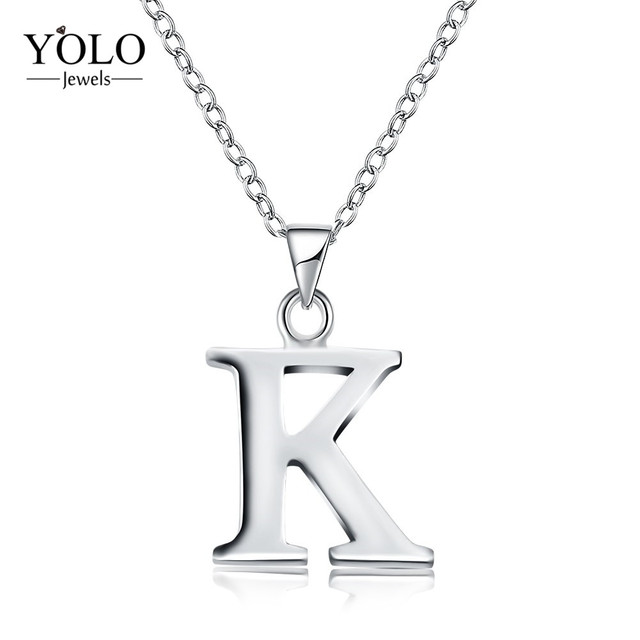 Letter K Necklace Initials Name Necklaces Personalized Pendant for Couple  Engraved Alphabet K Pendant Necklace Best Gift