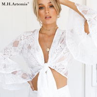 M H Artemis White Hollow Out Lace Blouse Boho Chic V Neck Big Flare Sleeve Autumn