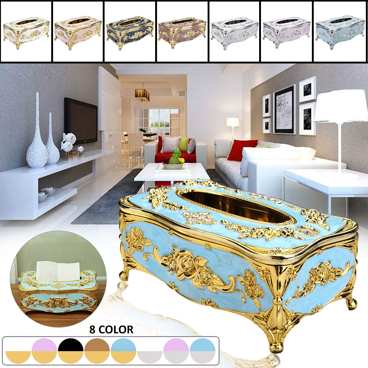 8 colors european style acrylic tissue box cover napkin for Hotel home decor