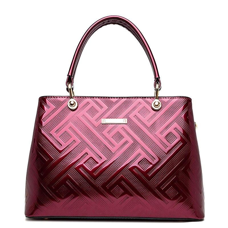ICEV New Fashion Women Leather Handbag Cow Patent Luxury Handbags Bag High Quality Ladies Totes Sac