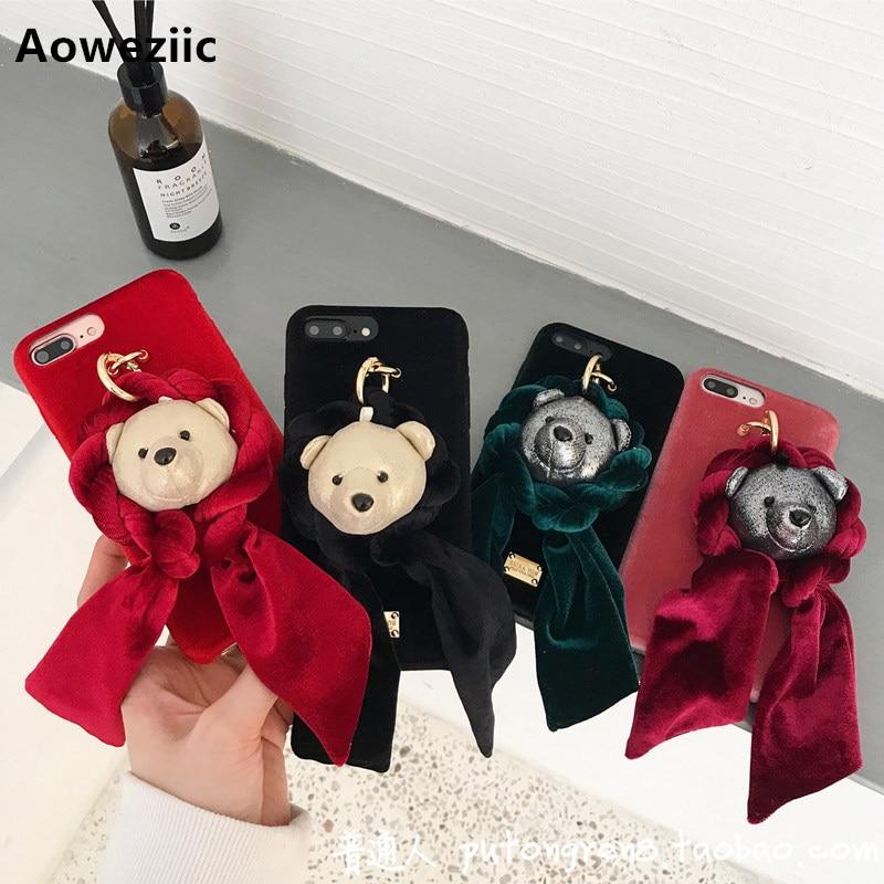 Aoweziic Oro velluto bavaglino bear per iphone 8 X cassa del telefono mobile 7 più protettivo coppia manicotto soft shell 6 s marea