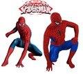 Бесплатная Доставка Супергерой Человек-Паук Синий и Красный Лайкра Спандекс Полный Боди Взрослых и Ребенок Взрослых Хэллоуин Косплей Костюм