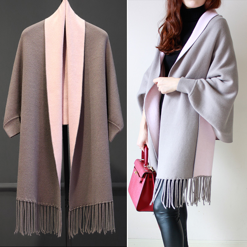 2017 Women' Elegant Socialite Poncho Tassel Cardigan Large Size Sweaters Batwing Sleeves Scarf Cape Overcoats Grey
