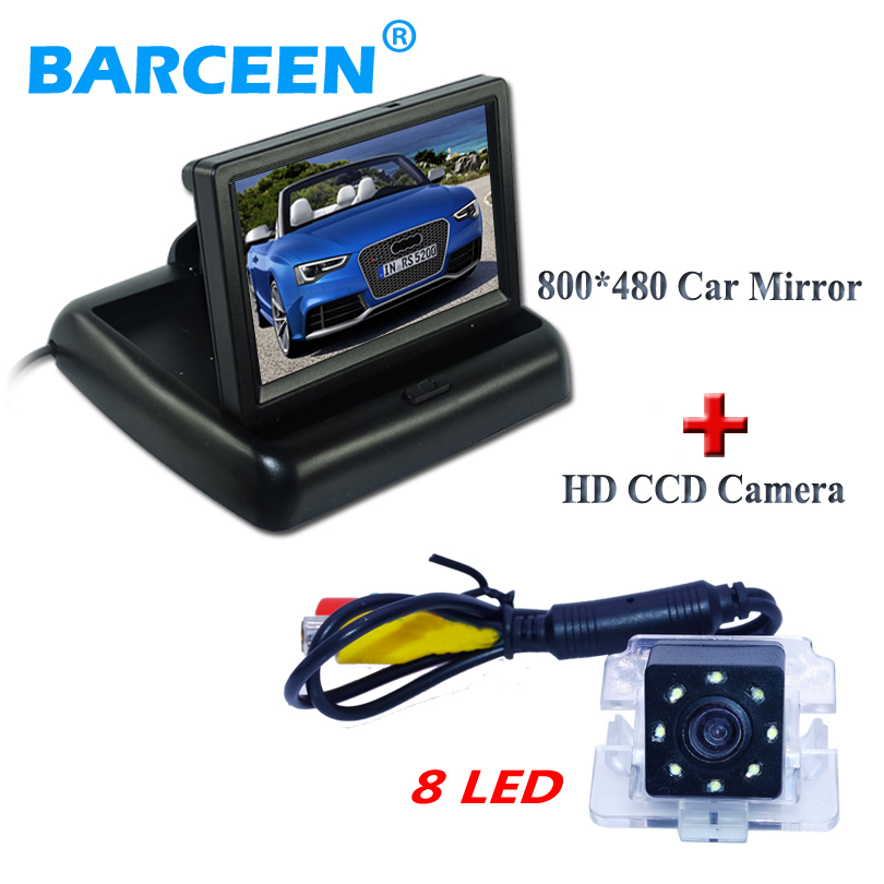 "Assist car parking 4.3"" foldable car  monitor and plastic shell car rear reversing camera auto +8 led for Mitsubishi Outlander