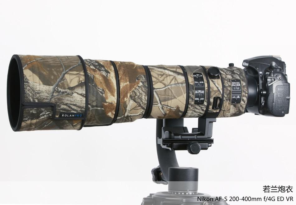 ROLANPRO Lens Cloth Camouflage Rain Cover for Nikkor Nikon AF-S VR 200-400mm f/4G ED VR Lens Protective Sleeve Guns Case все цены