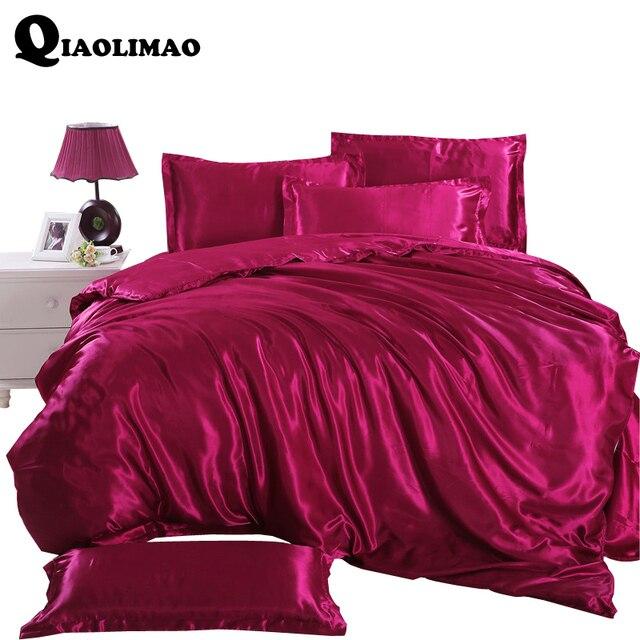 4 pcs ensembles de literie en soie housse de couette drap de lit couvre lit