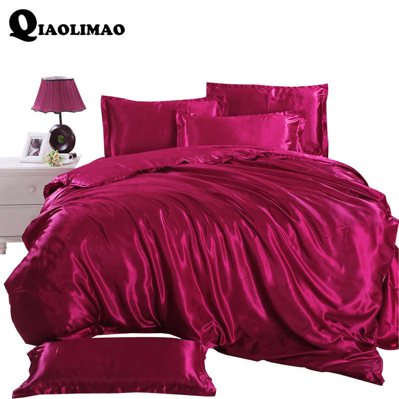4 Pcs Silk Bedding Sets Duvet Cover Bed Sheet Bed Cover Silk Sheets Set Of Bed Linen Bedsheet Bedspread Satin Bedding Bedclothes