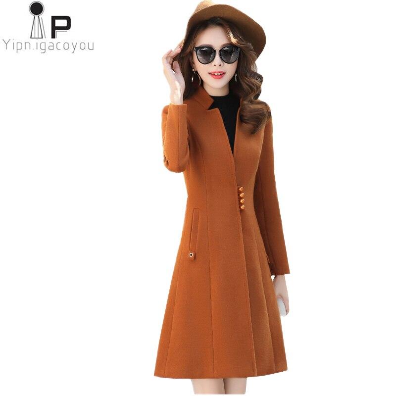 أزياء النساء الصوف معطف الكورية الخريف جديد زائد حجم الأسود الوردي قميص دافئ طويل الصوف معطف أنيقة الشتاء النساء سترة 3XL-في صوف مختلط من ملابس نسائية على  مجموعة 1
