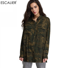ESCALIER 2017 Fashion Women Loose Camouflage Coats Stand Collar Pocket Long Sleeve Button Sweat Breathable Outwear Jacket