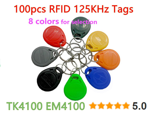 100pcs 125khz rfid tag proximity keyfobs ring access control card 8 colour for access control time