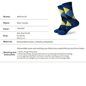 Image 3 - Match Up Men Colorful Argyle  Cotton Crew socks  Brand Business Socks  (5 pairs / lot )