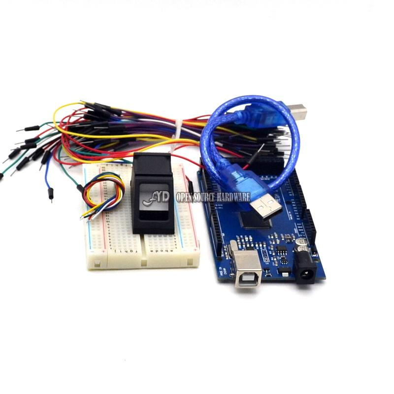 Optical Fingerprint Reader Sensor Module + A Mega 2560 UNO R3 + USB Cable + breadboard