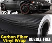 3D 50 CM X 152 CM bricolage 3D en Fiber de carbone Wrap rouleau autocollant vinyle voiture Auto véhicule Detailing noir Car Styling emblème Decal