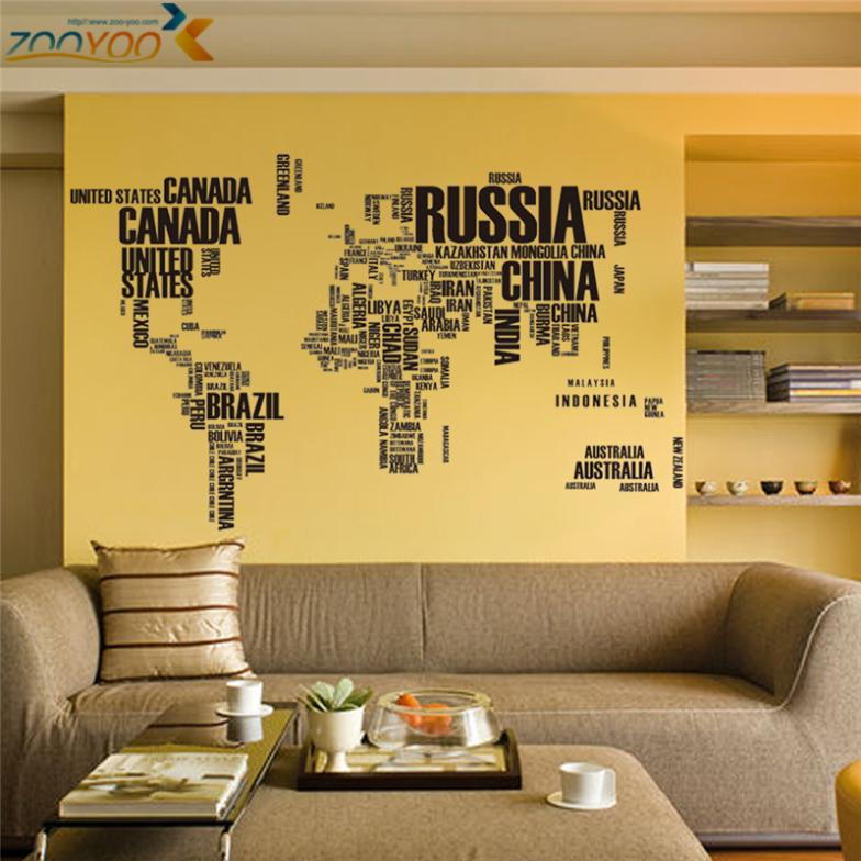 60*90CM*2 large world map wall stickers letters map wall art bedroom ...