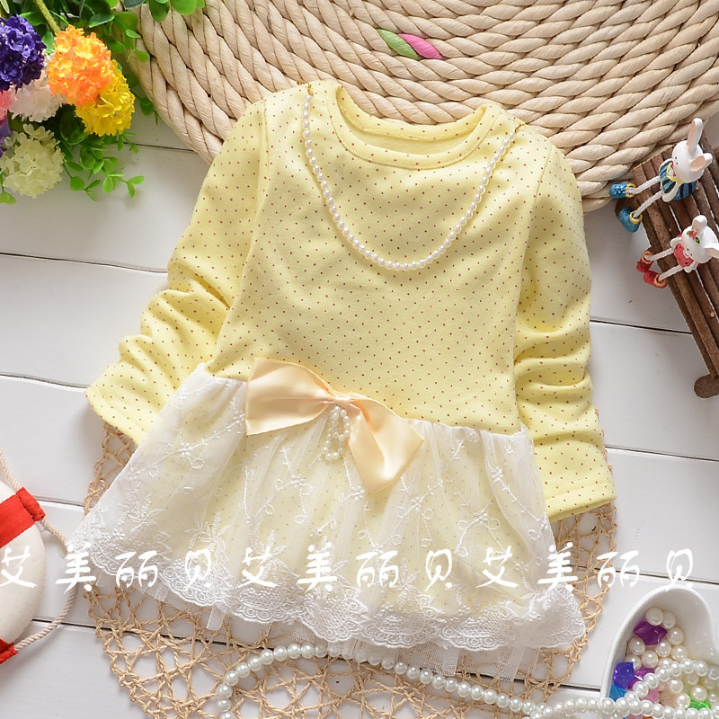 2016 Spring and Autumn baby girls dot pearl bow mesh shirt child long sleeve tops tees clothing free shipping