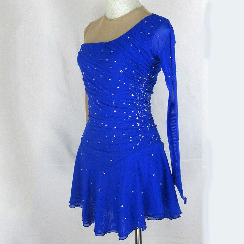 Ice skating dress Baton Twirling Costume blue Competition Figure Skating dress