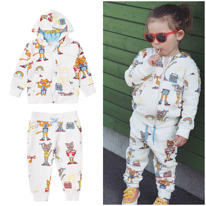Image 3 - TinyPeople Brand Baby Boy Clothing Suits Autumn Casual Baby Girl Clothes Sets Children dress Hoodie Sports pants Spring Kids Set