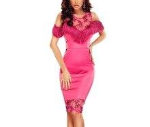 FGirl Kleider für Frauen Sexy Kleid Mit Fransen Cold Shoulder Rosy Cocktail Bodycon Kleid FG31220