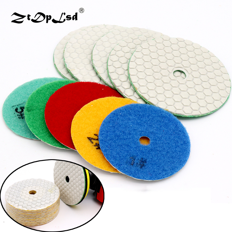 1X Dry Grinding Disc Quick Change Polishing Pads Granite Marble Stone Concrete Floor Air Sander Tool Diamond Round Flexible Pad