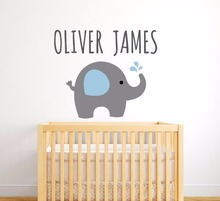 Elephant Customized Name Wall Sticker Vinyl Waterproof Removable Animal Art Kids Nursery Bedroom Decoration Elephants Decor W68