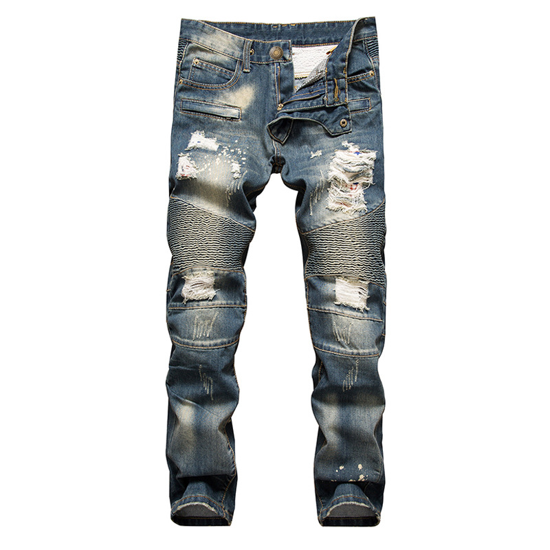 New Fashion 2018 AUTUMN Blue Hole Jeans Mens Ripped Skinny Biker Destroyed Denim Trousers