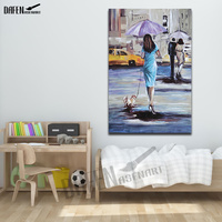 Woman with Umbrella and dog Handmade Oil Painting on Canvas Palette Knife Figure Picture for Modern Wall Art Home Decorations