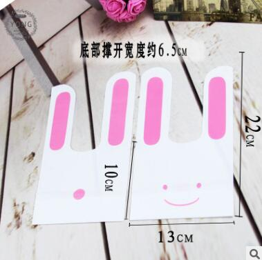 50Pcs Cute Rabbit Ear Cookie Bags Self-adhesive Plastic Bag For Biscuit Snacks Baking Pa ...