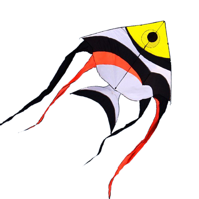 Free Shipping Outdoor Fun Sports New 4m Power Colorful Tropical Fish Kite With Handle And Line Good Flying