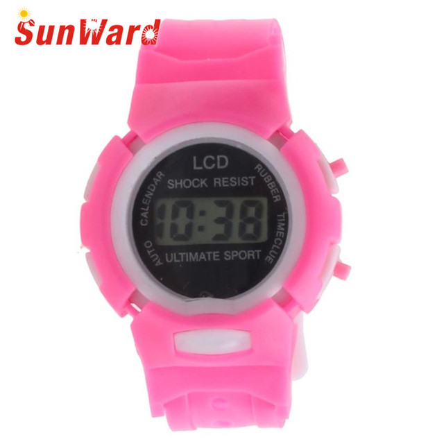 Drop Shipping Gift Boys Girls Students Time Clock Electronic Digital LCD Wrist Sport Watch July12