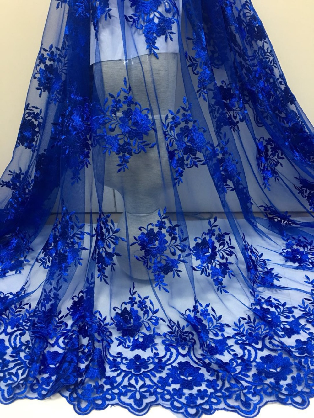5 yards Royal blue french net lace lace fabric for wedding high quality African lace fabric