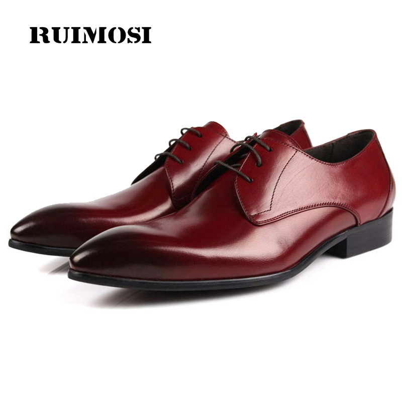 RUIMOSI Fashion Pointed Toe Man Formal Wedding Dress Shoes Luxury Brand Genuine Leather Male Oxfords Men's Bridal Flats LF97