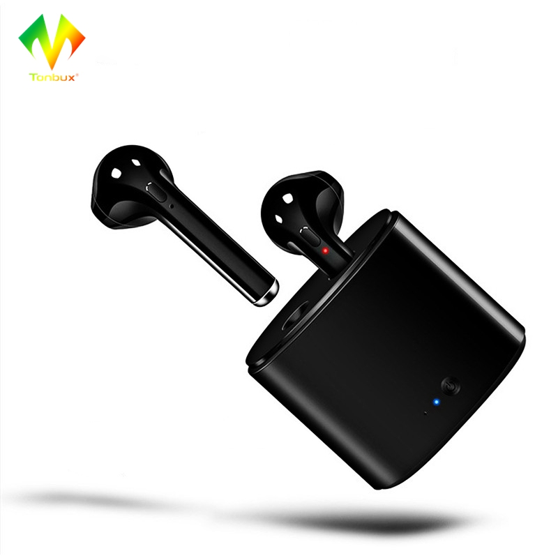 Tonbux Wireless Bluetooth Earphones Mini Size I7S TWS Earbuds Stereo Headset for Android IOS Phone In-ear Earphone Charge Box mini wireless in ear micro earpiece bluetooth earphone cordless headphone blutooth earbuds hands free headset for phone iphone 7