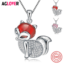 2018 New Arrive Lovely Fox Design 925 Pure Sterling Silver Ladies Top Quality CZ Pendant Necklaces Birthday Women Gift Wholesale
