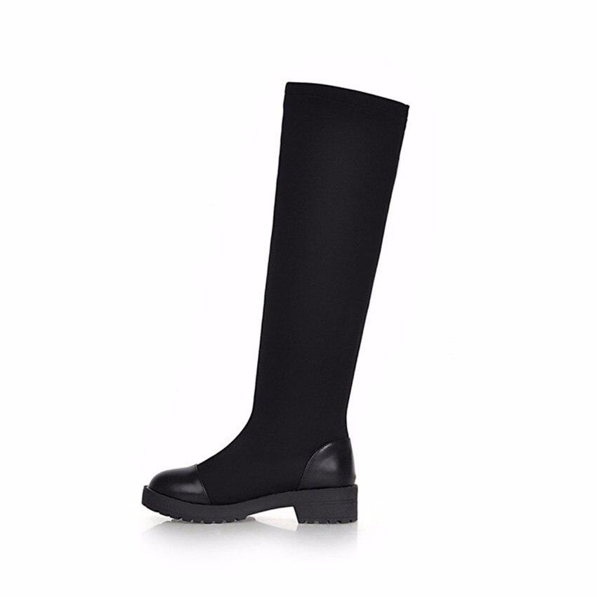 Демисезонный на низком каблуке женские сапоги до колена стрейч Ткань женские сапоги до середины икры Обувь Высокое качество, Большие разме...