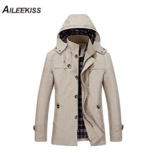AILEEKISS 2019 Men Air Force Autumn Winter Cotton Jackets for Man Casual Male Jacket Coat Long Section Fashion Trench XT745