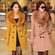Novas Mulheres Outono Inverno Casacos Plus Size Sólida Vestido Fino Moda Double Breasted misturas De Lã Brasão Para Mulheres Casacos Grande