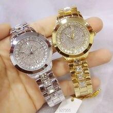 2016 Top Women Rhinestone Watches Lady Diamond Stone Dress Watch Alloy Band Big Dial Bracelet Wristwatch ladies Crystal