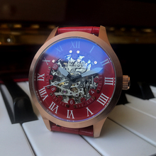 42mm Japan MIYOTA Automatic Watch NATURAL PARK Luxury Skeleton Men Mechanical Watches Fashion Red Leather Clock Water Resistant
