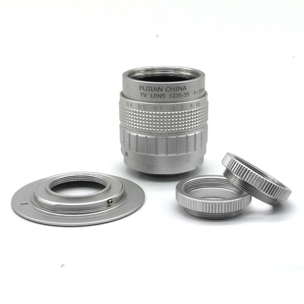 Fujian 35mm f 1 7 CCTV camera lens for M4 3 MFT Mount Camera Adapter bundle