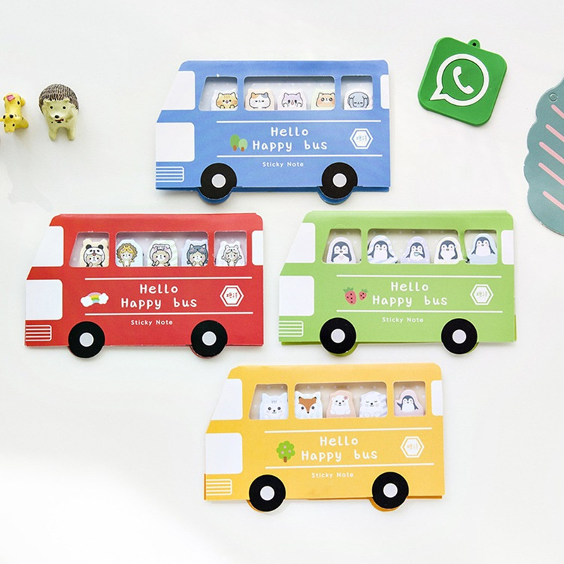 4 pcs Happy bus sticky note Cute forest animal memo pad Cat penguin Fox post stickers Stationery Office School supplies A6781