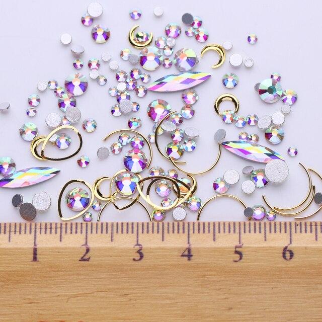 1Box Champagner Gold Nagel Strass Wasser Tropfen Kristall 3D Nail art Dekorationen Flache Rückseite Studs DIY Strass Dekoration