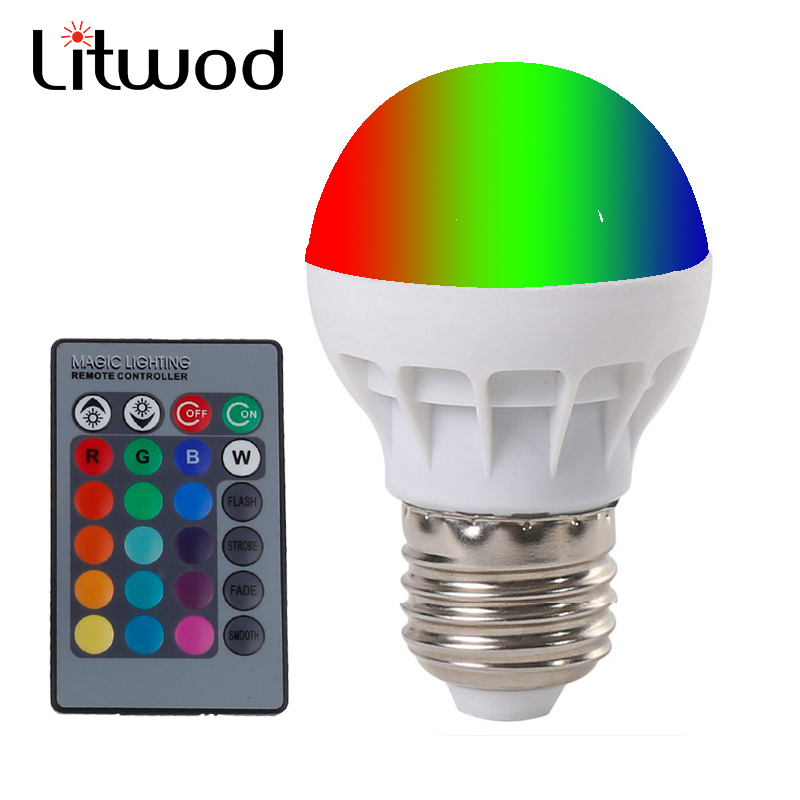 Litwod Z20 E27 LED RGB Magic Lamp Lamp 3W AC85-265V 220V RGB Led Light Spotlight+ Ir-afstandsbediening controle and white white
