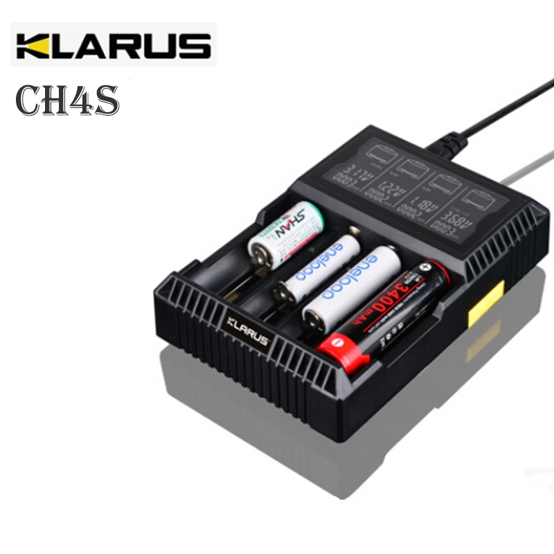Klarus CH4S Smart LCD Charger for 18650 Battery AA AAA 14500 26650 CRC123A C Battery Desulfator Charger EU, AU, US, UK Adapter klarus ch4 smart battery charger lcd display four slot battery charging station