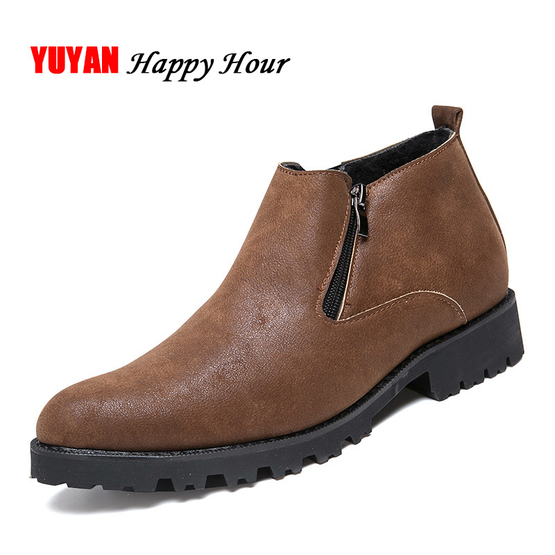 Black Chaussures yellow Winter A169 Hommes Froid Marque D'hiver En Mâle Bottes Winter Peluche brown yellow Chelsea Cuir black Hiver L'hiver Chaudes Winter Pour 2018 Bottines Autumn Souple Autumn brown Cheville Autumn HSdqg7wSW