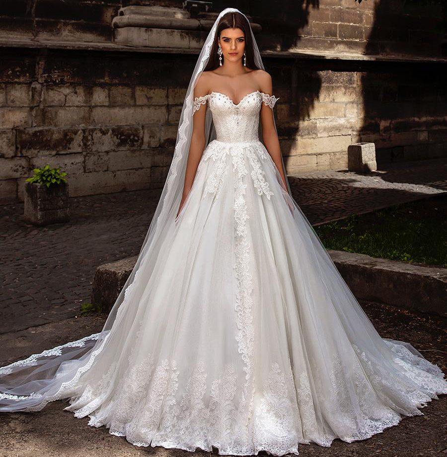 Saudi arabia puffy wedding dress off the shoulder luxury for Wedding dresses to buy off the rack
