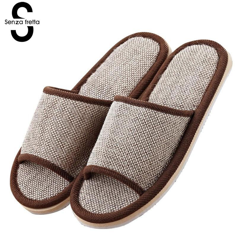 Senza Fretta New Flax Home Slippers Indoor Floor Men Slippers Indoor Silent Flax Slippers For Men Guests Home Slippers Plus Size