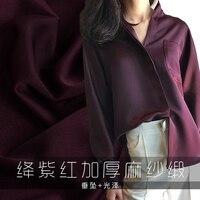 New purple red heavy lustre thickening, vertical felt crease resistant yarn, Satin Dress Satin fabric dress dress material
