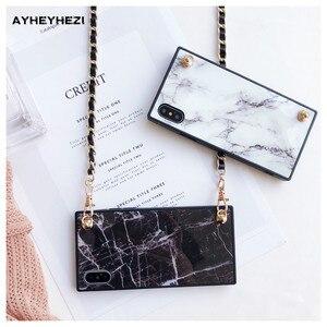 Image 4 - Granit Marbre iPhone bandoulière Housse avec longue sangle chaîne Pour iPhone 12 mini 11 PRO XS MAX XR X 8 7 plus Couverture Insta bon