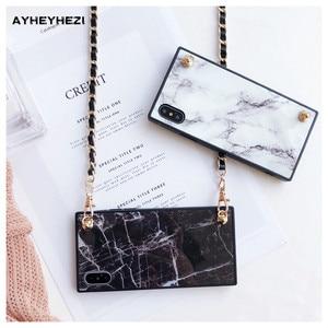 Image 4 - Granit Marmor iPhone crossbody Fall Abdeckung mit langen riemen kette Für iPhone 12 mini 11 PRO XS MAX XR X 8 7 plus Abdeckung Insta gute
