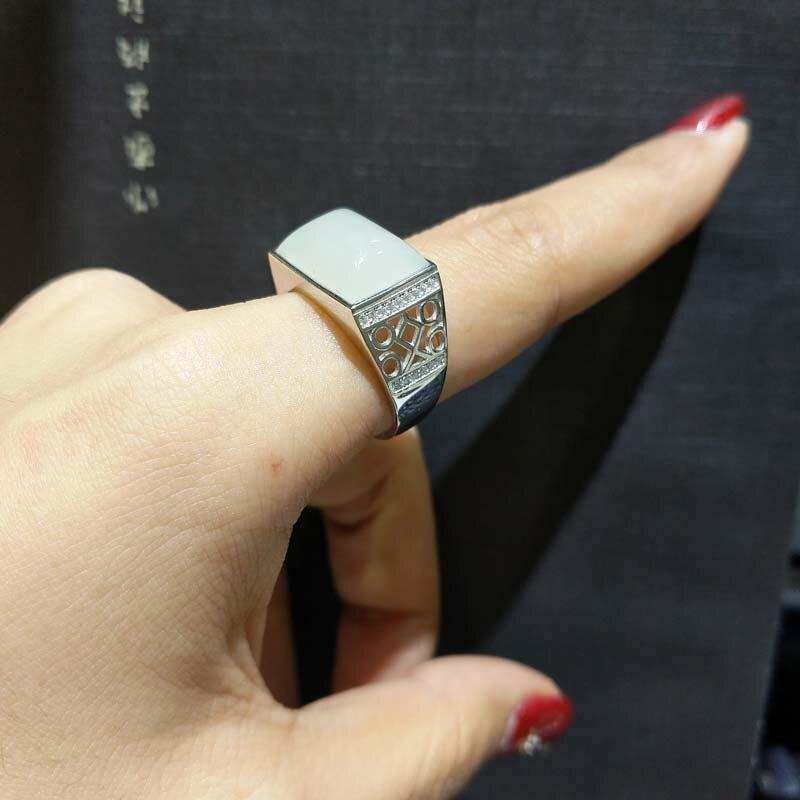 FLZB, duży kamień mężczyzn palec pierścień Tectangle naturalne Jade szczęście pierścień dla mężczyzn 925 sterling silver z 18 k biały pozłacany pierścionek w Pierścionki od Biżuteria i akcesoria na  Grupa 1